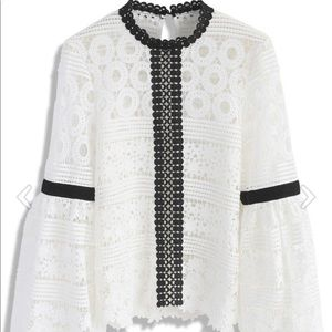 Chicwish Crochet Lace Black and White Blouse
